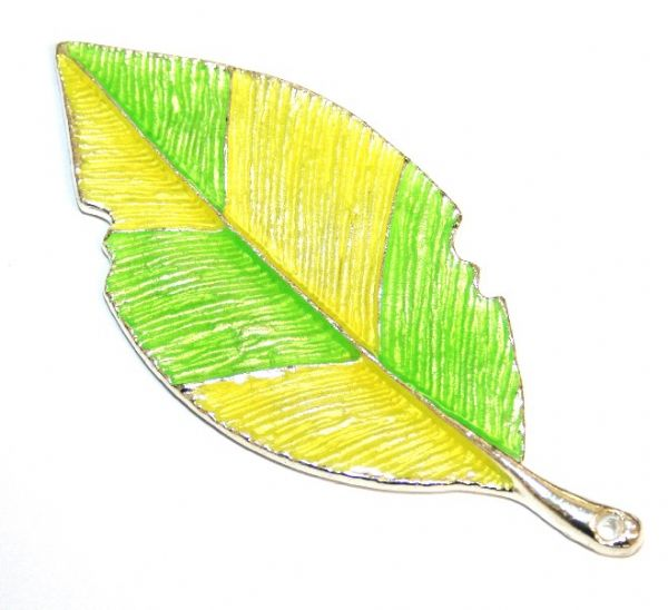 1pce x 80mm*35mm Lime green/yellow enameled alloy  leaf pendants